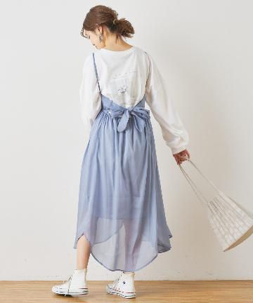 NICE CLAUP OUTLET(ナイスクラップ アウトレット) シアーラメバックリボンキャミジャンバースカート