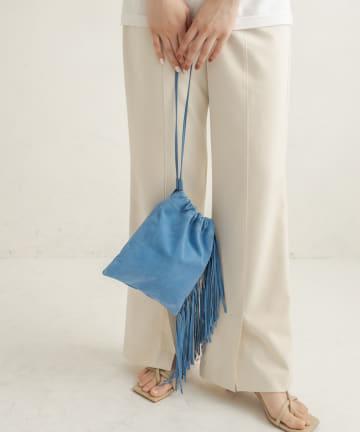 CAPRICIEUX LE'MAGE(カプリシュレマージュ) スエードフリンジ巾着バッグ