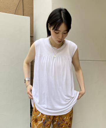 DOUDOU(ドゥドゥ) 【WEB限定】ギャザーノースリ