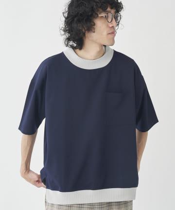 CPCM(シーピーシーエム) 衿配色リブTブラウス