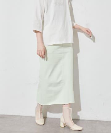 natural couture(ナチュラルクチュール) 【WEB限定】春めき配色裏毛ナロースカート