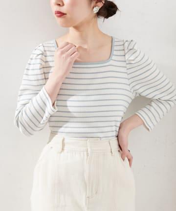 natural couture(ナチュラルクチュール) 【WEB限定】袖コンシャスパイピングカットトップス