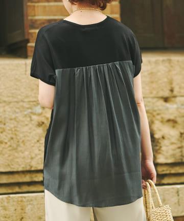 Chez toi(シェトワ) 【接触冷感素材】機能素材BACK布帛半袖プルオーバー