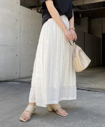 CAPRICIEUX LE'MAGE(カプリシュレマージュ) シャーリングマキシスカート