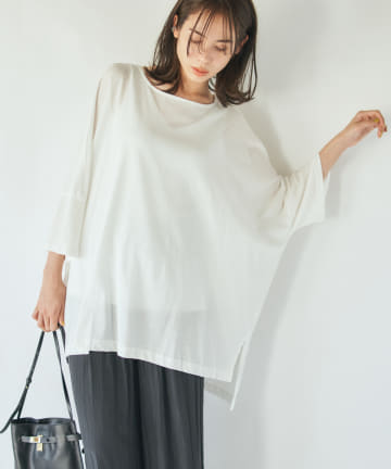 La boutique BonBon(ラブティックボンボン) 【手洗い可】ボックスオーバーTシャツ