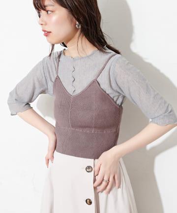 natural couture(ナチュラルクチュール) シアーメローT×ニットビスチェセット