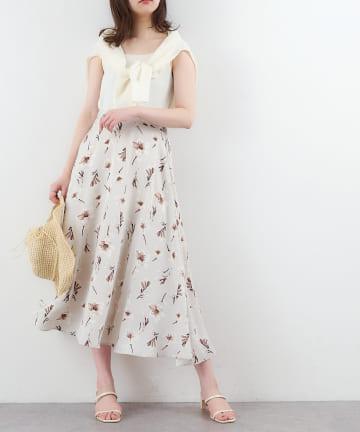natural couture(ナチュラルクチュール) リリーフレアスカート
