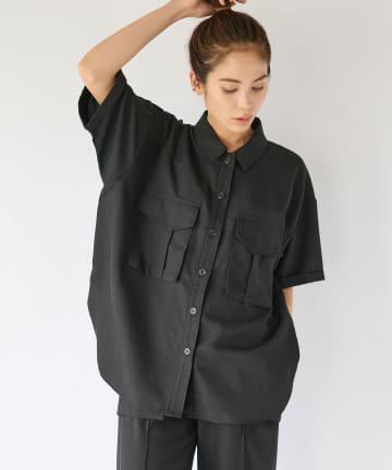 La boutique BonBon(ラブティックボンボン) 【手洗い可】サファリシャツ