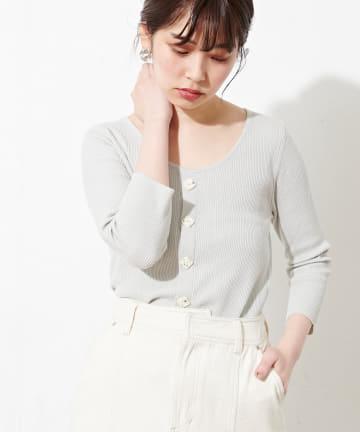 natural couture(ナチュラルクチュール) 【WEB限定カラー有り】スクエア釦コンパクトリブニット