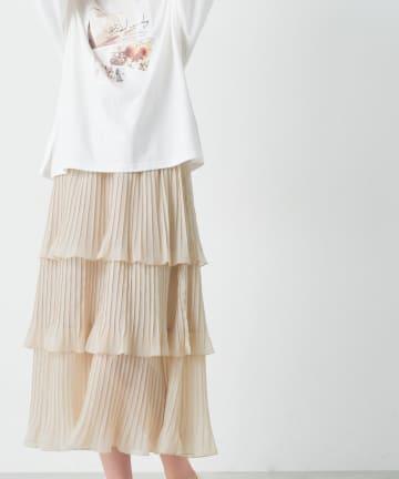 OLIVE des OLIVE(オリーブ デ オリーブ) 3段消しプリーツティアードスカート