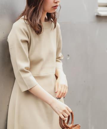 natural couture(ナチュラルクチュール) 【WEB限定】美シルエットポリニットワンピース Lサイズ