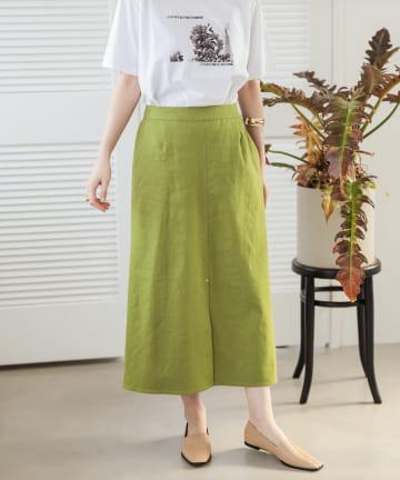 un dix cors(アンディコール) 【《快適な履き心地》手洗い可】リネン混ストレッチAラインスカート