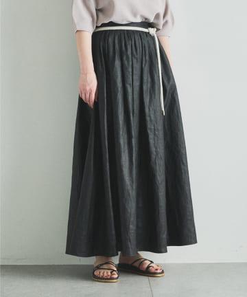 Whim Gazette(ウィム ガゼット) コーティングギャザースカート