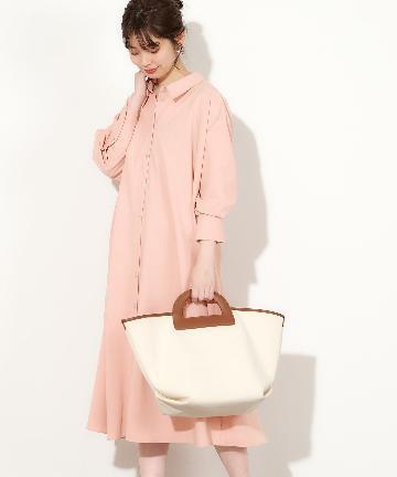 natural couture(ナチュラルクチュール) バックレースアップ裾フレアシャツワンピース