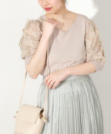 natural couture(ナチュラルクチュール) 3Dレース袖華やか2WAYトップス