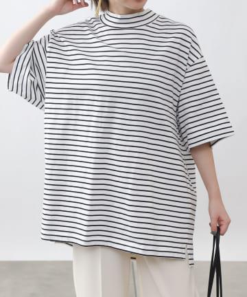 COLONY 2139(コロニー トゥーワンスリーナイン) 細ボーダーモックネック天竺Tシャツ