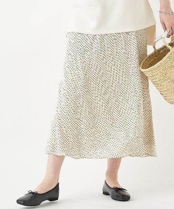 OUTLET premium(アウトレット プレミアム) 【《軽やかで女性らしい》手洗い可】スウィングdotロングスカート