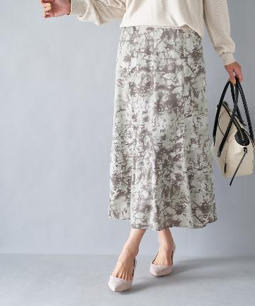 OUTLET premium(アウトレット プレミアム) 【《着こなし華やぐ》手洗い可】ぼかしプリントフレアースカート