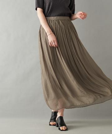 OUTLET premium(アウトレット プレミアム) 【《女性らしい着こなしに》手洗い可】シアー楊柳スカート