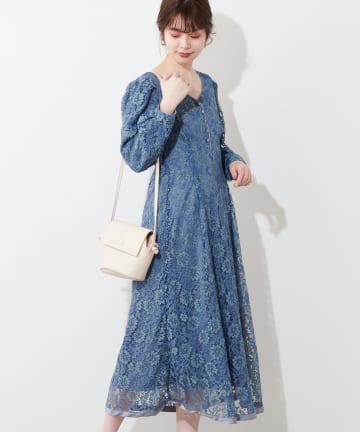 natural couture(ナチュラルクチュール) 裾パイピング大人レースワンピース
