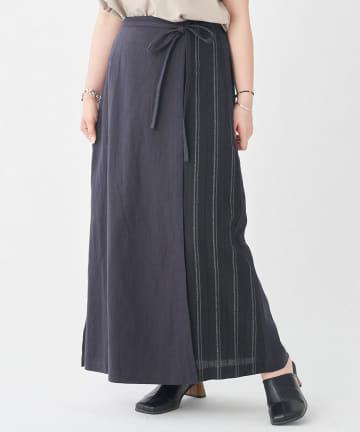 CPCM(シーピーシーエム) 【WEB限定】ラップ風無地×ストライプスカート
