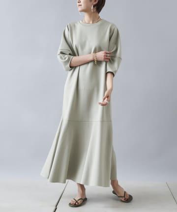 DOUDOU(ドゥドゥ) 【追加予約】バルーンスリーブ裾切替カットワンピース