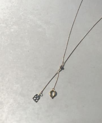 un dix cors(アンディコール) 【2つのモチーフがきらりと輝く】スライドリングネックレス