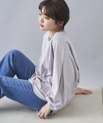 DOUDOU(ドゥドゥ) 【WEB限定】袖タックTシャツ