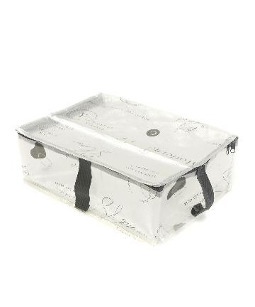 3COINS(スリーコインズ) 【お洗濯・衣替えの収納に】フタ付きクリアフラットボックス