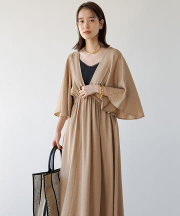 Loungedress(ラウンジドレス) フレアスリーブカシュクールワンピース
