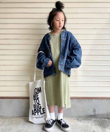 CIAOPANIC TYPY(チャオパニックティピー) 【KIDS】ヘビーコットンワッフル フレンチスリーブOP