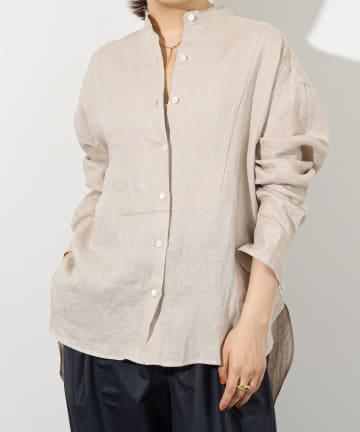 Whim Gazette(ウィム ガゼット) 《WEB限定》フレンチリネンスタンドカラーシャツ