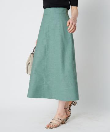 La boutique BonBon(ラブティックボンボン) 【手洗い可】リネンライクオックスAラインスカート
