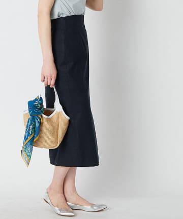 La boutique BonBon(ラブティックボンボン) 【手洗い可】リネン混ストレッチナロースカート