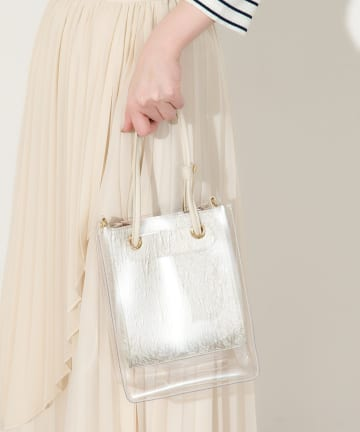 natural couture(ナチュラルクチュール) PVC*合皮2個セットトートバッグ