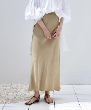DOUDOU(ドゥドゥ) 【再入荷】麻混ソフトマーメイドスカート