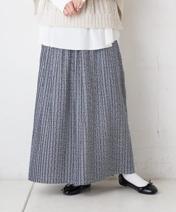 pual ce cin(ピュアルセシン) 花柄プリントプリーツスカート