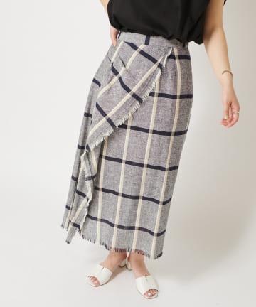 COLLAGE GALLARDAGALANTE(コラージュ ガリャルダガランテ) 【きれいに包み込む】カラミチェックラップスカート