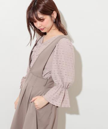 natural couture(ナチュラルクチュール) カットレース胸くしゅデザイントップス
