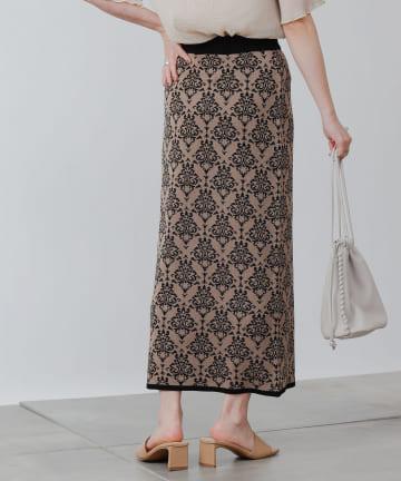 COLONY 2139(コロニー トゥーワンスリーナイン) 麻タッチダマスク柄ニットスカート(セットアップ可)