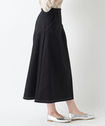 un dix cors(アンディコール) 【《女性らしいハイウエストデザイン》手洗い可】カツラギストレッチAラインスカート