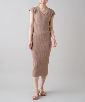 Loungedress(ラウンジドレス) アシメリブフレンチワンピース