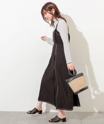 natural couture(ナチュラルクチュール) 【着用動画あり】配色ステッチジャンスカ