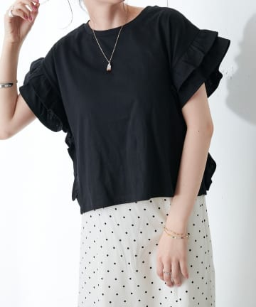 Discoat(ディスコート) 【WEB限定】袖フリルTシャツ