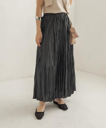 CAPRICIEUX LE'MAGE(カプリシュレマージュ) 〈WEB限定〉ランダムプリーツロングスカート
