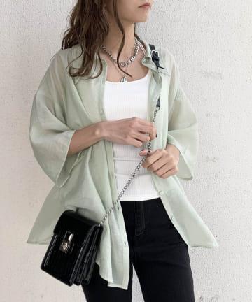 RASVOA(ラスボア) メンズライク半袖シアーシャツ