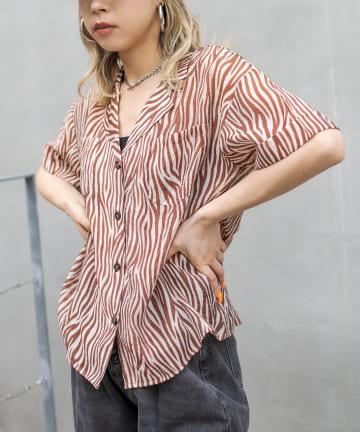 RASVOA(ラスボア) ゼブラオープンシアーシャツ