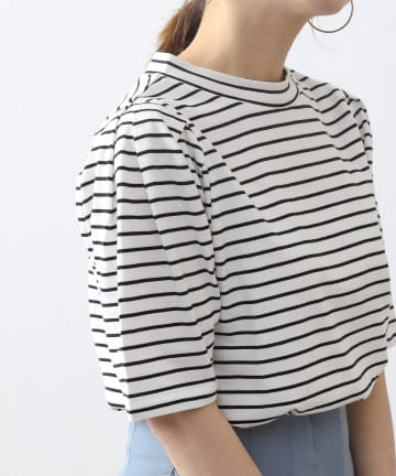 COLONY 2139(コロニー トゥーワンスリーナイン) 細ボーダーパフスリーブ半袖Tシャツ