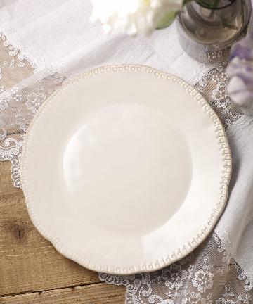 salut!(サリュ) 【アンティークホワイト食器】ドットプレート26cm