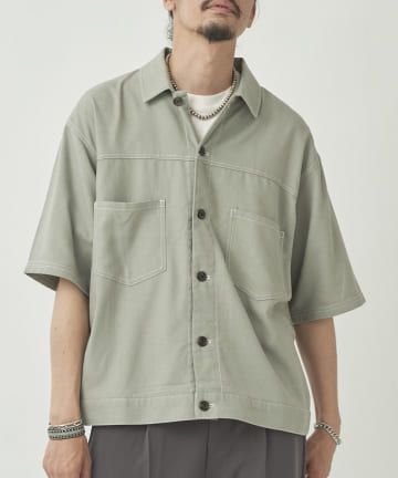CPCM(シーピーシーエム) 配色ステッチ半袖シャツ